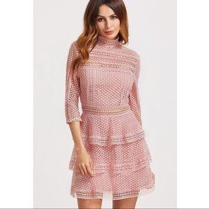 Dresses & Skirts - Pink Crochet Summer Dress with Mock Neck